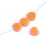 Fire polished Cut Heart 8X8mm. Opaque orange/matte Edges